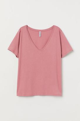 H&M V-neck T-shirt - Pink