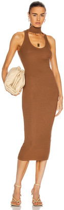 Enza Costa Silk Rib Detached Mockneck Sleeveless Midi Dress in Gold | FWRD