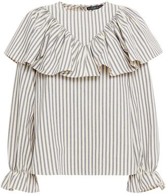 ALEXACHUNG Ruffled Striped Cotton Blouse