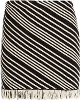 Sonia Rykiel Fringed striped cotton-blend mini skirt