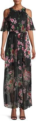 Calvin Klein Moody Floral-Print Chiffon Maxi Dress