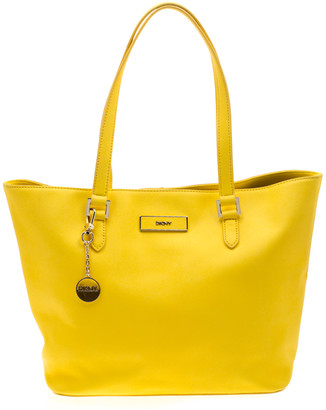 DKNY Yellow Leather Shopper Tote
