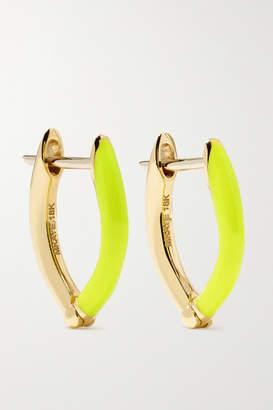 Melissa Kaye Cristina Small 18-karat Gold And Enamel Earrings - one size