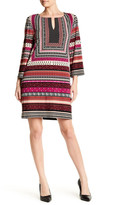 Laundry by Shelli Segal Printed 3/4 Length Sleeve T-Dress