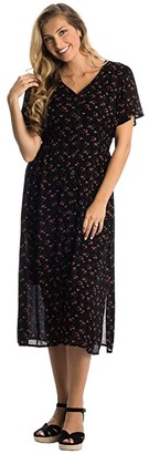 Everly Grey Ballencia Maternity/Nursing Dress (Black Floral) Women's Clothing