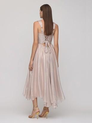 Maria Lucia Hohan Sorena Metallic Silk Midi Dress