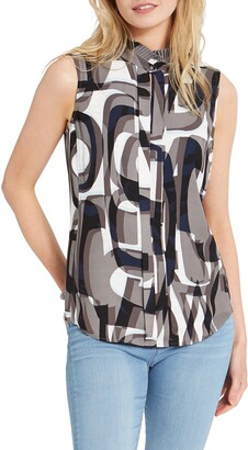 Nic+Zoe Alphabet Print Ruffle Sleeveless Top