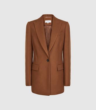 Reiss Hanbury - Wool Blend Single Breasted Blazer in Tobacco