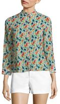 Alice + Olivia Eloise Printed Stretch-Silk Blouse