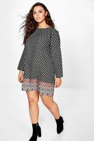 Boohoo Plus Delia Border Print Shift Dress