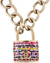 Chanel Tweed CC Padlock Pendant Necklace