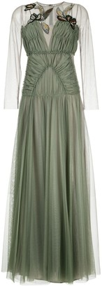 Antonio Marras gathered tulle dress with embroidery
