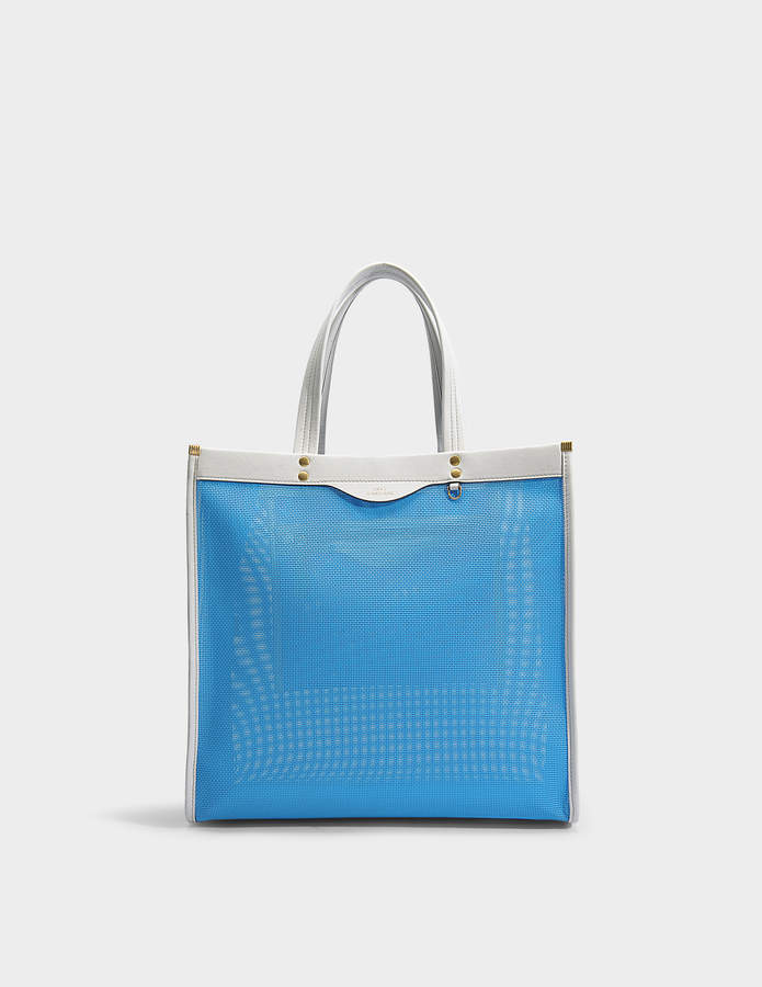 Anya Hindmarch Mesh Tote Bag in Blue and Chalk Mesh