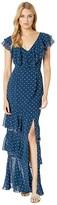 WAYF Hailey Ruffle Midi Dress (Navy Polka Dot) Women's Dress