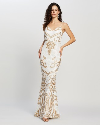 Bariano Eisley Fishtail Pattern Sequin Gown