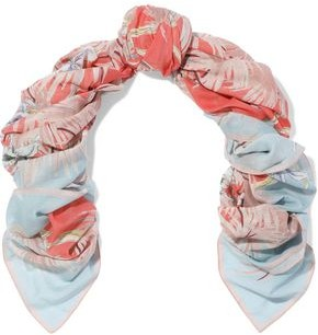 Valentino Printed Cotton And Silk-blend Gauze Scarf