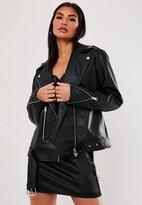 Missguided Petite Black Faux Leather Boyfriend Biker Jacket