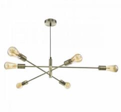 Dar Lighting - Antique Brass Alana 6lt Pendant Light - Glass/Gold
