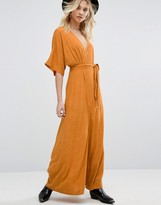 Honey Punch Wrap Front Maxi Dress With Floral Burnout