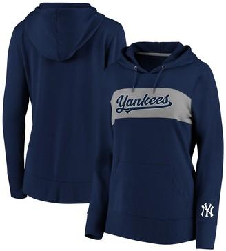 New York Yankees Women's Fanatics Branded Navy Colorblock Pullover Hoodie