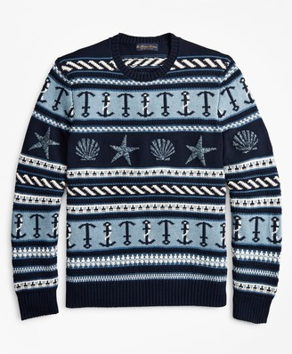Brooks Brothers Supima Cotton Nautical Motif Fair Isle Crewneck Sweater