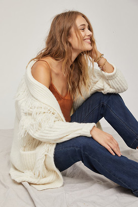 Anthropologie Amanza Fringed Cardigan By in White Size M/L