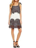 Eva Franco Susan Ribbon Shoulder Lace Shift Dress