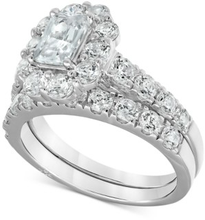 Marchesa Certified Emerald-Cut Halo Diamond Bridal Set (3 ct. t.w.) in 18k White Gold, Created for Macy's