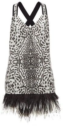 Proenza Schouler Feather-hem Leopard-jacquard Mini Dress - Womens - Black White
