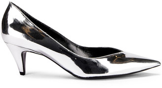 Saint Laurent Kiki Kitten Heels in Silver | FWRD