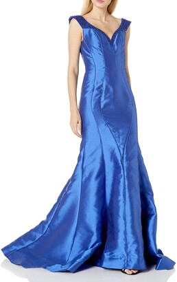 Mac Duggal Women's Mikado Gown with Beaded Neckline