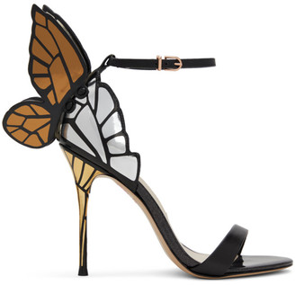 Sophia Webster Black and Gold Chiara Heeled Sandals