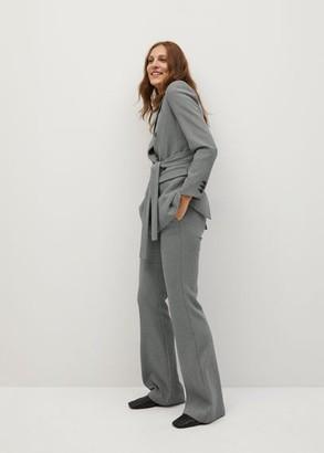 MANGO Micro-houndstooth suit pants grey - 1 - Women