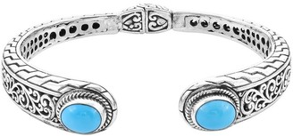 Shop Lc 925 Silver Turquoise Cuff Bangle Bracelet Size 7.25 In Ct 4.8 - Bracelet 7.25''
