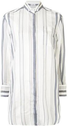 Brunello Cucinelli Striped-Print Silk Shirt