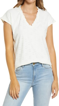 Gibson Eyelet Embroidered Ruffle Top