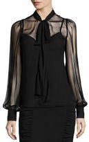 Nanette Lepore Silk Tie-Neck Blouse