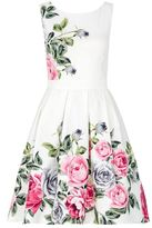 Quiz Cream Floral Print Prom Dress