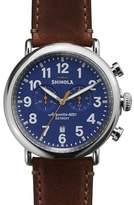 Shinola Men's 47mm Runwell Chronograph Men's Watch, Blue/Cognac