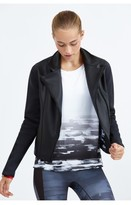 Prabal Gurung Sport Neoprene Moto Jacket With Graphic Print Lining