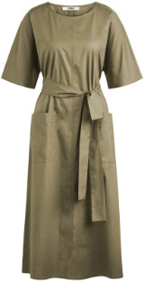 Zenggi Khaki Cotton Relaxed Dress - l