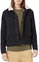 Topman Men's Denim Jacket With Faux Shearling Collar