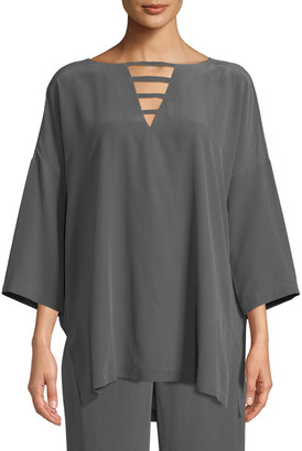 Go Silk Silk Crepe Open-Detail Top