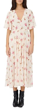 Maje Runge Floral Print Midi Dress