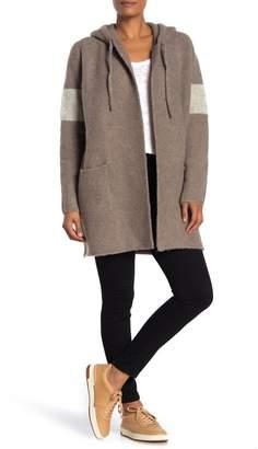 James Perse Wool Blend Long Sleeve Hooded Coat