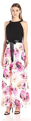 SL Fashions Women's Ity Halter Floral Print Skirt Maxi