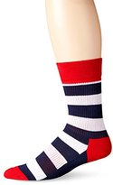 Happy Socks Men's Stripe Combed Cotton 1/2 Terry Crew Socks