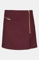 Topshop Oxblood Flannel Faux-Wrap Skirt