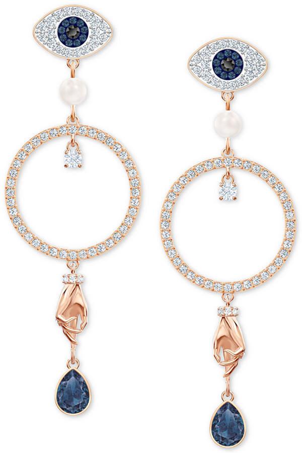 93a7677b4fbff Rose Gold-Tone Crystal Evil-Eye, Hoop & Hand Drop Earrings