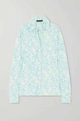 Kwaidan Editions Floral-print Stretch-jersey Shirt - Light blue